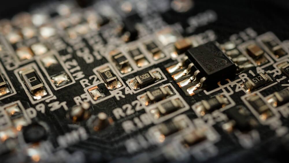 Близък кадър на компютърен чип