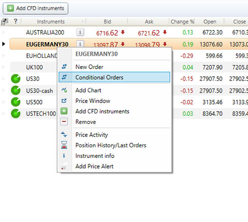 Screenshot depicting how to add a conditional order in Delta Trading