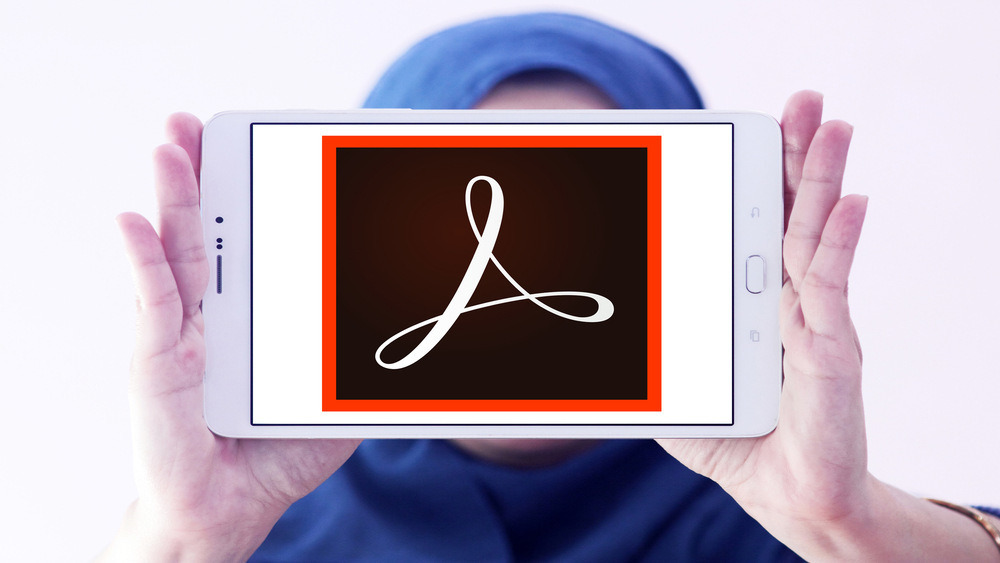 Picture of tablet with Adobe logo