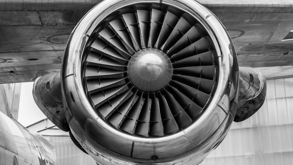 Up-close picture of an airplane jet engine