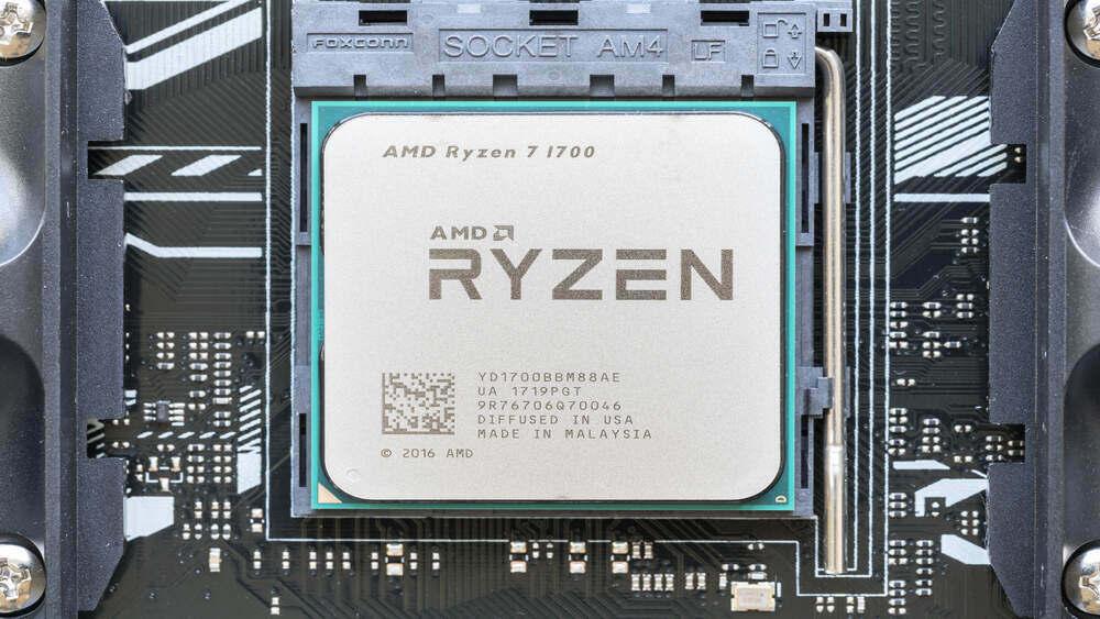 Close-up of AMD Ryzen CPU