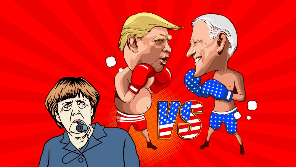 Trump and Biden on boxing match with Merkel as referee