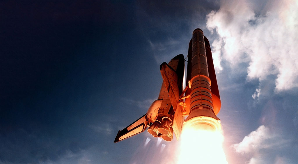 Rocket launch photographed from below