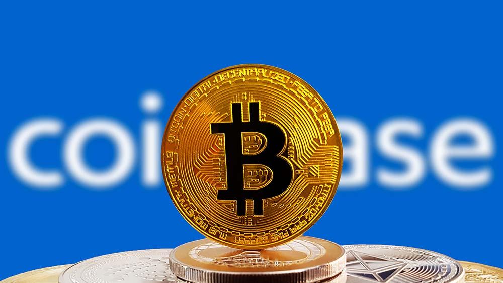 Coinbase logo with BTC coin in focus
